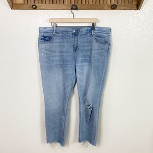 Old Navy Distressed Raw Hem Perfect Straight Jeans